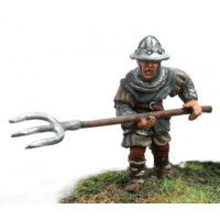 Scottish infantryman with iron hat and pitchfork, attacking.