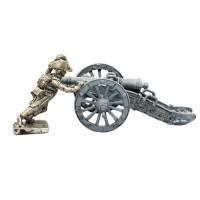 Infantryman pushing a gun-carriage