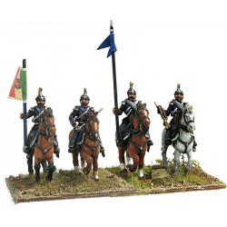 Line cavalry in campaign dress Command group