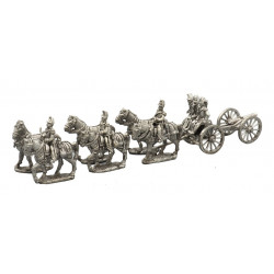 Artillery train team with six horses and cannon
