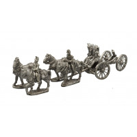 Artillery train team with four horses and cannon