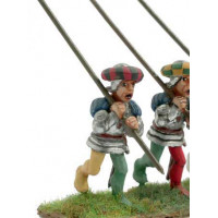 Pikeman, holding the pike vertically, 1450
