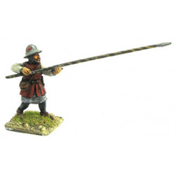 Infantryman  with iron cap, shield and long spear