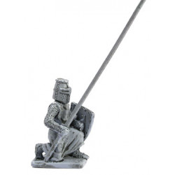 Knight with lance and shield, kneeling, 1250