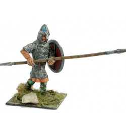 Norman warrior with coat of mail, spear and shield, attacking.