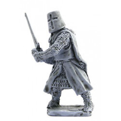 Dismounted Teutonic Knight fighting with sword.