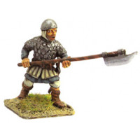 Infantryman with plate mail skull cap and sickle