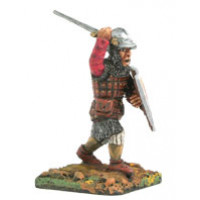 Infantryman, with quilted body-armoured , iron cap and sword, at