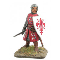 Horseless knight with skull cap, sword and shield.
