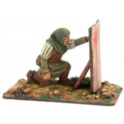 Infantryman with pavise kneeling, with hood and sword,