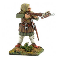 Crossbow man with hood and leather armor, shooting