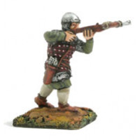 Crossbow man with quilted mail and skull cap, shooting