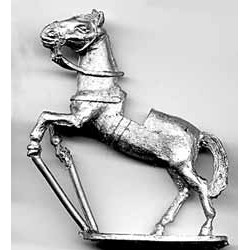 Horse for medieval figures, with light harness, rampant