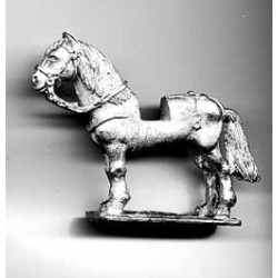Heavy horse for Scottish medieval knights, uncovered, standing