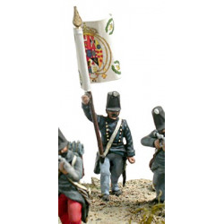 Fuciliers standard bearer in campaign dress attacking.